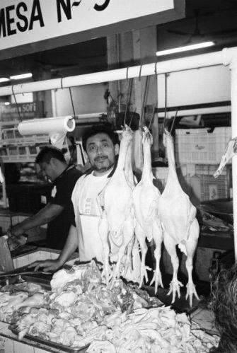 Zdjęcia: Merida, Sprzedawca drobiu na bazarze w Meridzie, MEKSYK