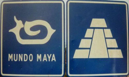 Zdj�cie MEKSYK / Campeche / Chenkoh / Znak drogowy Mundo Maya