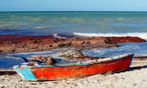 Zdjecie MEKSYK / Jukatan / Progreso / Czerwona łódka