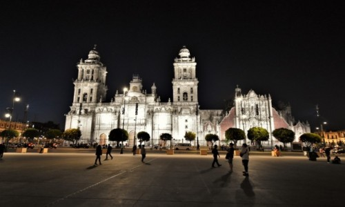 Zdjęcie MEKSYK / Stolica / Mexico City / Mexico City, katedra nocą