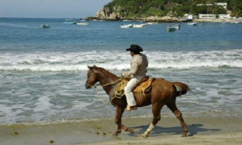 Zdjecie MEKSYK / Oaxaca / Puerto Escondido / Główna plaża w miasteczku