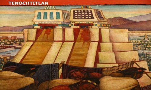 Zdjęcie MEKSYK / Ciudad de Mexico / Zocalo / Fragment fresku Diego Riviery - Wielka Świątynia Azteków