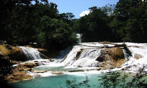 Zdjęcie MEKSYK / Chiapas / Park Aqua Azul / Wodospad