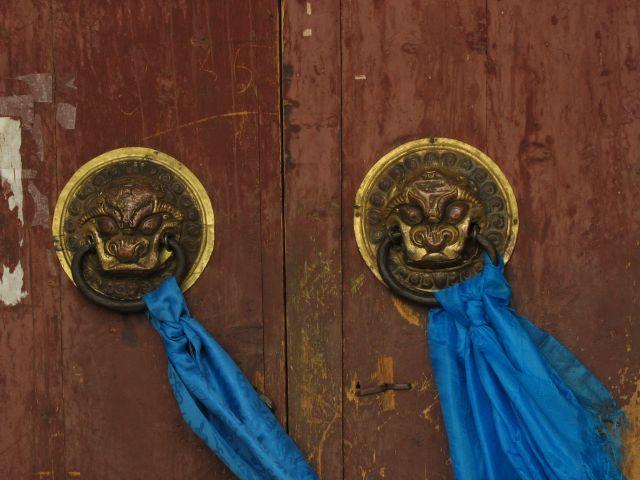 Zdjęcia: Karakorum, drzwi klasztorne w Karakorum, MONGOLIA