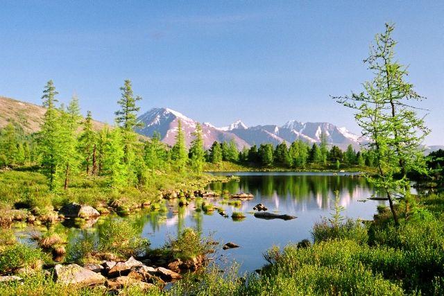 Zdjęcia: Nad Szyszchid-goł, Urjanchaj, Górskie jeziorko w Sajanach, MONGOLIA