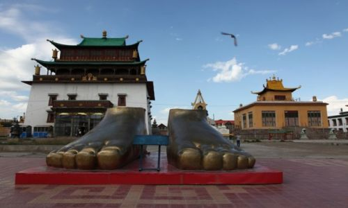 Zdjęcie MONGOLIA / Ułan Bator / Klasztor Gandan / Stopy Buddy
