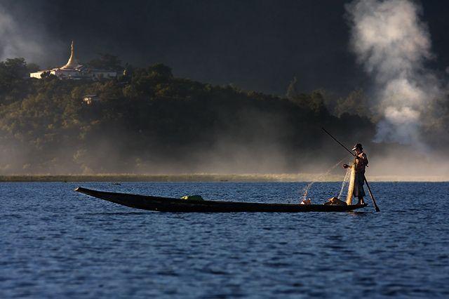Zdjęcia: Inle Lake, Shan, codzienny polow, MYANMAR