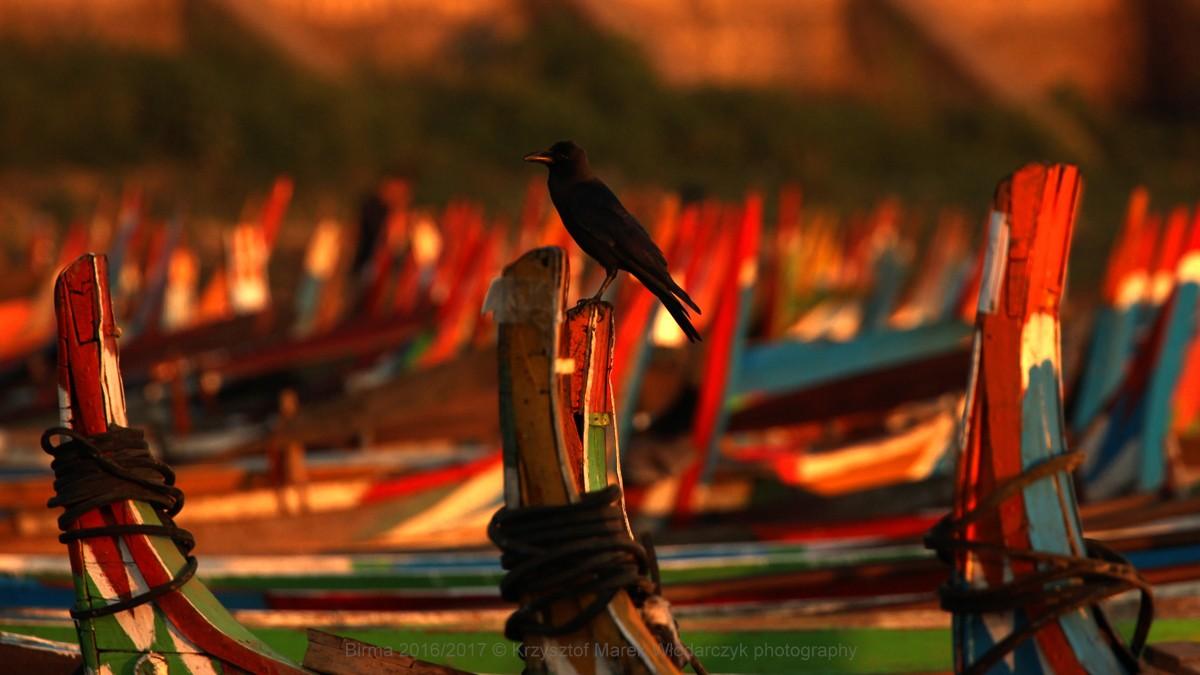 Zdjęcia: Amarapura, Mandalaj, Myanmar (Birma) łodzie z Amarapura, MYANMAR