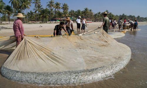 Zdjecie MYANMAR / Ngwe Saung Beach / Ngwe Saung Beach / Wyjmowanie sieci z urobkiem