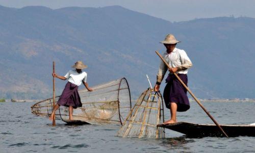 Zdjęcie MYANMAR / INLE / JEZIORO INLE  / Rybacy