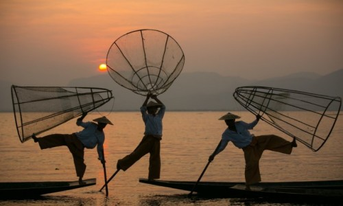Zdjecie MYANMAR / Taunggyi / Inle Lake / łowcy światła