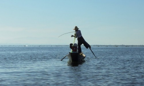 Zdjecie MYANMAR / Shan  / Inle Lake / Rybak