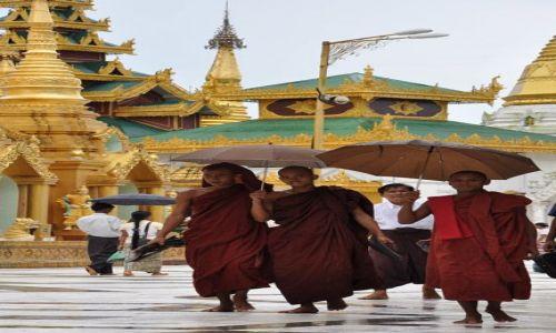 MYANMAR / brak / Yangon (Rangun) / Mlodzi mnisi w Shwedagon Paya