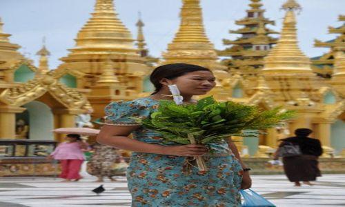 MYANMAR / brak / Yangon (Rangun) / Birmanka z kwiatami w Shwedagon Paya