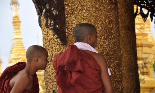 MYANMAR / brak / Yangon (Rangun) / Mnisi w Shwedagon Paya
