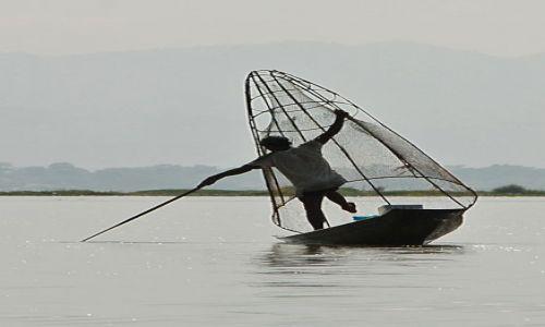 Zdjęcie MYANMAR / Inle / Inle / Rybak na jeziorze Inle