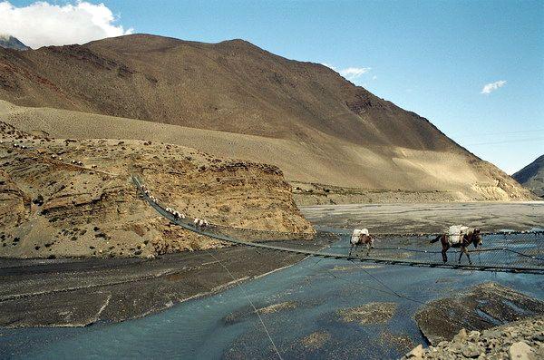 Zdjęcia: Kagbeni, Annapurna, Most na rzece, NEPAL