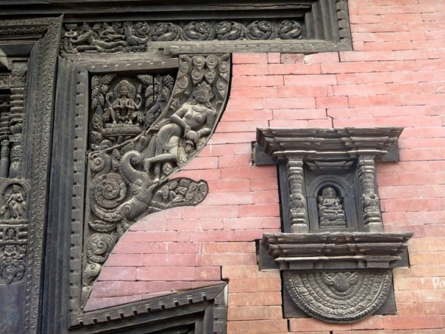 Zdjęcia: Bhaktapur, Kotlina Katmandu, Detal architektoniczny, Durbar Square Bhaktapur. Nepal, NEPAL