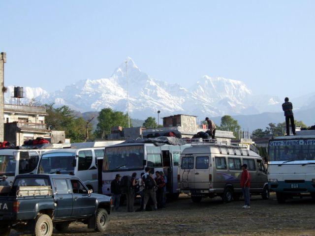 Zdjęcia: Pokhara, Trekking wokół Annapurny, Dworzec autobusowy w Pokharze, NEPAL