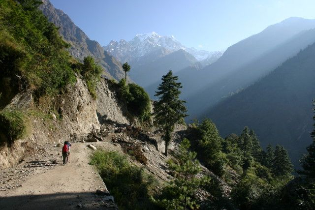 Zdjęcia: W drodze do Marphy, Masyw Annapurny, Trekingowy poranek, NEPAL