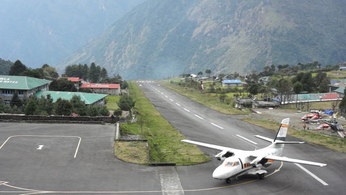 Zdjęcia: Lukla, Khumbu, lądowanie w Lukli, NEPAL
