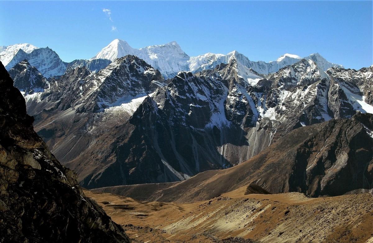Zdjęcia: Przełęcz Cho La (5420 m), Himalaje, rejon  Ngozumpa Glacier , Na przełęczy, NEPAL