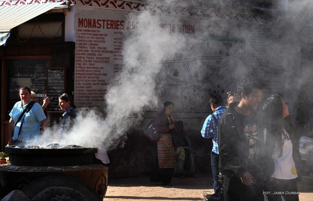 Zdjęcia: Boudddanath, Kathmandu, Dym, NEPAL