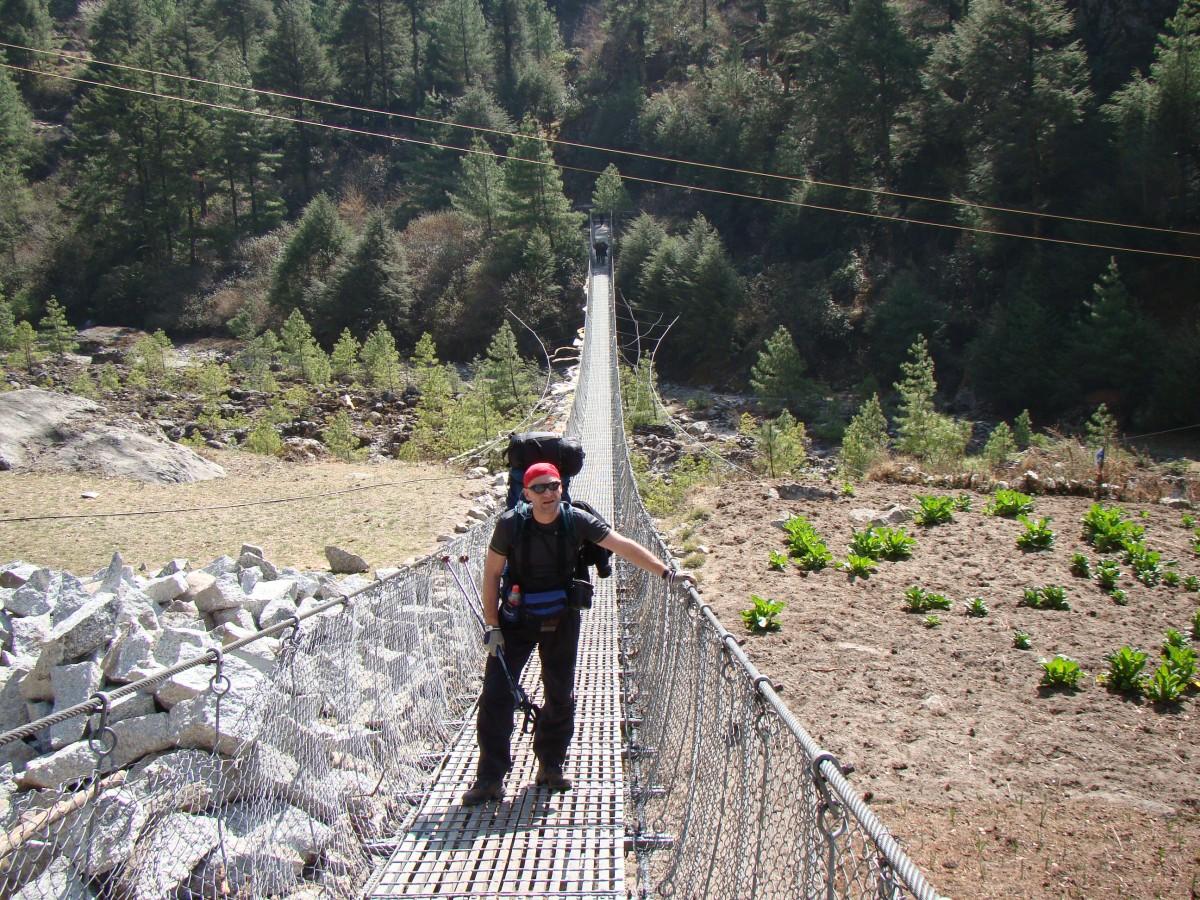 Zdjęcia: Dolina Dudh Koshi, Khumbu, Most wiszący na Dudh Koshi, NEPAL