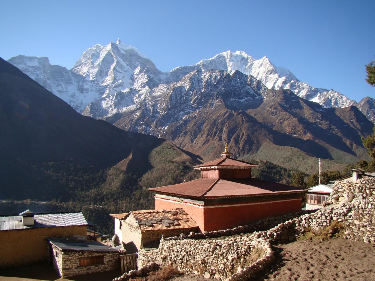 Zdjęcia: Pangboche, Himalaje, Widok z Pangboche na Thamserku, NEPAL