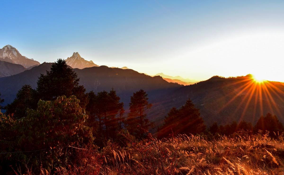 Zdjęcia: Himalaje, Nepal, wschód słońca na Poon Hill, NEPAL