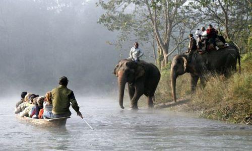 Zdjęcie NEPAL / Chitwan / Chitwan - Sauraha / słonie i spływ na Bhudi Rapti