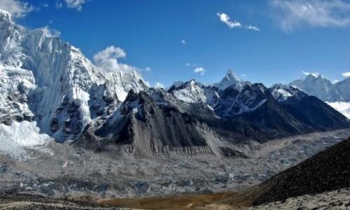 NEPAL / Himalaje, rejon Mt. Everest / widok na dolna część Lodowca Khumbu / Panorama z wierzchołka Kala Pattar cz.2