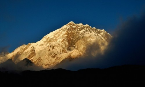 NEPAL / Sagarmatha Himal (Mt. Everest) / Biwak ponad Lobuche / Ostatnie słońce na Nuptse