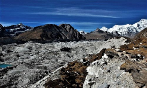 NEPAL / Himalaje Mahalangur Himal / Ngozumpa Glacier ( Ngojumba) / Przez lodowiec Ngozumpa