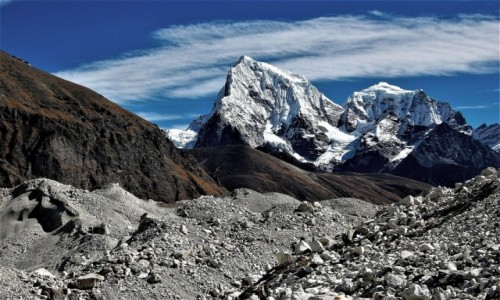 Zdjęcie NEPAL / Himalaje Mahalangur Himal / Ngozumpa Glacier ( Ngojumba) na wysokości Gokyo / Lodowiec Ngozumpa
