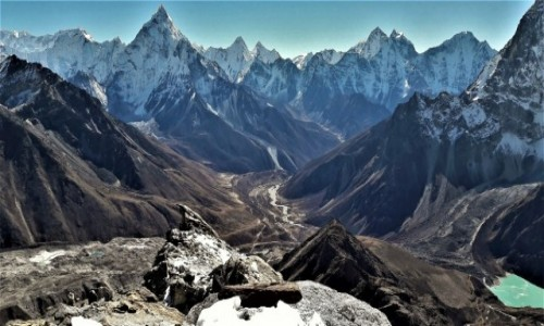 NEPAL / Himalaje, rejon Khumbu Glacier / poniżej szczytu Lobuche East / Lobuche East