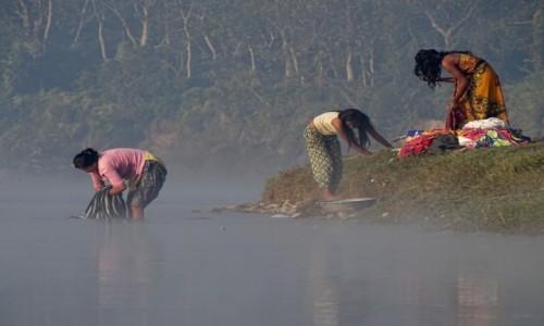 NEPAL / Royal Chitwan National Park / nad rzeką Rapti / W porannej mgle