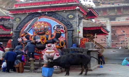 Zdjęcie NEPAL / Dolina Katmandu / Katmandu- Durbar Square - Bhajrawa / Jest klimat!