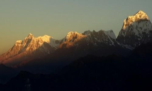 NEPAL / Annapurna Circuit / Poon Hill - widok o świcie na Dhaulagiri / Już zapalone