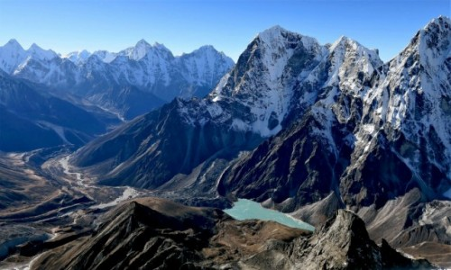 NEPAL / Himalaje / Lobuche East / Dolina Imja Khola z góry