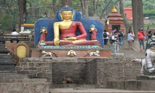 Zdjęcie NEPAL / Kathmandu / Kathmandu / Swayambunath, świątynia małp
