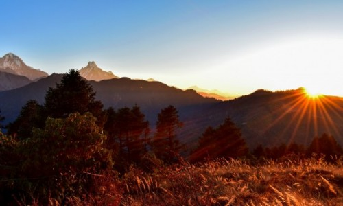 NEPAL / Nepal / Himalaje / wschód słońca na Poon Hill