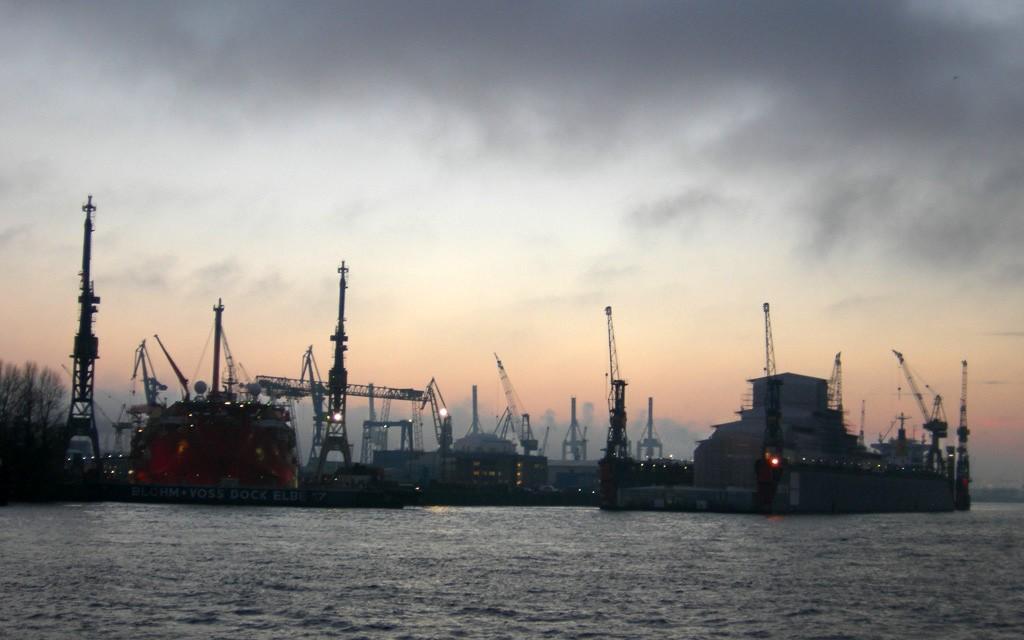 Zdjęcia: Port, Hamburg, Portowa akwarela, NIEMCY