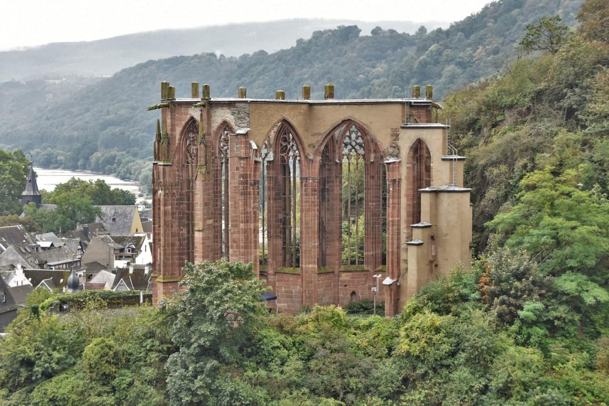 Zdjęcia: Bacharach, Dolina Renu, Bacharach, widok na Ruine Wernerkapelle, NIEMCY