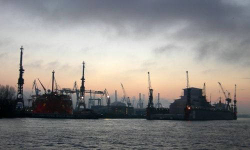 Zdjecie NIEMCY / Hamburg / Port / Portowa akwarela