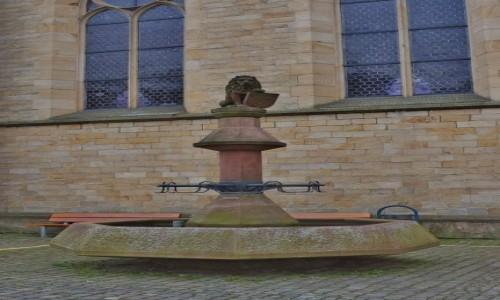 Zdjęcie NIEMCY / Nadrenia-Pallatynat / Bad Bergzabern / Bad Bergzabern, fontanna z herbem miasta