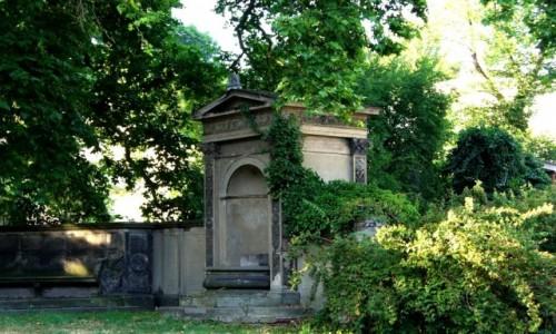 Zdjęcie NIEMCY / Brandenburgia / Poczdam / Mur okalajacy winnice z niszami i ozdobnymi ławeczkami