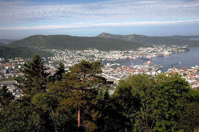 Zdjęcia: Bergen,  Hordland, Patrząc ze szczytu na miasto, NORWEGIA