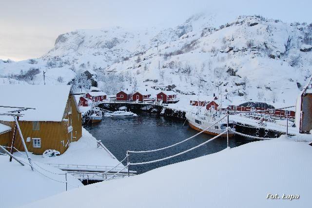 Zdjęcia: Nusfjord, Lofoty, Nusfjord zimą, NORWEGIA