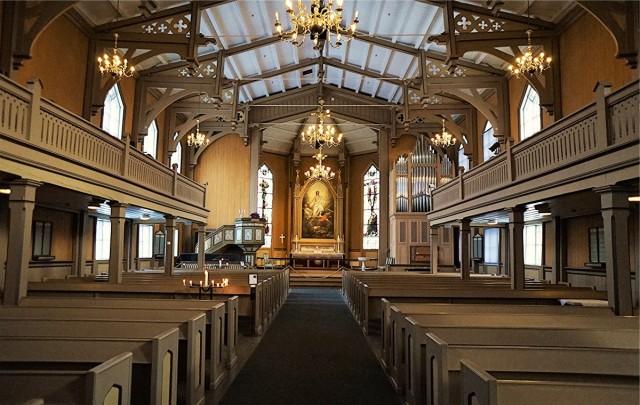 Zdjęcia: Tromsø, Troms, Wnętrze katedry luterańskiej , NORWEGIA
